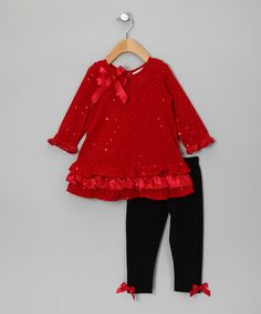 Take a look at this Red Sequin Tunic & Leggings - Infant, Toddler & Girls by Rare Editions on #zulily today!