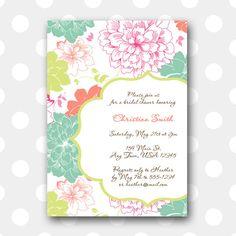Printable Bridal Shower Invitation  Elegant by inglishdigidesign, $10.00