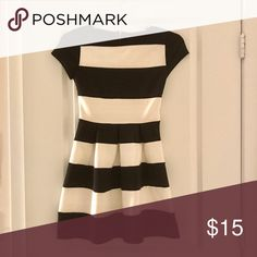 Black and white stripes dress Perfect for work and can easily go from a day to a night dress Dresses Mini