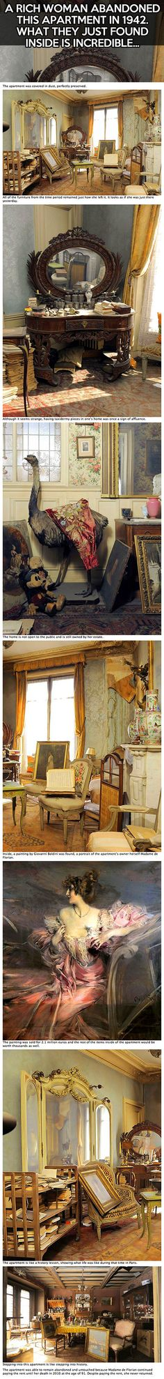 Madame de Florian was a French socialite and actress who fled to the south of France during World War II. She kept her apartment in Paris on the Right Bank near the Opéra Garnier, though, in case she wanted to return. However, she never went back to it after the war. Since 1942, the apartment has been sitting untouched, until recently when an auctioneer entered her apartment. What he found was a time capsule, full of treasures.