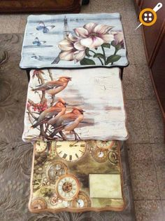 Wood Painting Coffee Table Models – How To Paint Wooden Coffee Table? Decoupage Table, Decoupage Furniture, Decoupage Vintage, Hand Painted Furniture, Furniture Decor, Furniture Makeover, Painted Coffee Tables, Craft Sale, Painting On Wood