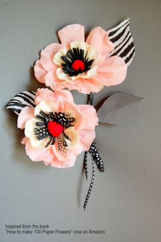 """Crepe Paper Flower Tutorial Whimsical paper poppy Inspired from """"How to make 100 Paper Flowers"""" Crepe Paper Flowers, Paper Roses, Fabric Flowers, Fake Flowers, Diy Flowers, Poppy Flowers, Flower Ideas, Flower Decorations, Diy Fleur Papier"""