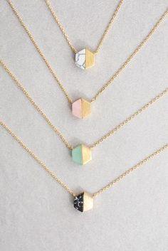 Hexa Stone Necklace - in silver, please! Cute Jewelry, Jewelry Box, Jewelery, Jewelry Accessories, Fashion Accessories, Jewelry Necklaces, Fashion Jewelry, Necklace Ideas, Gold Jewellery