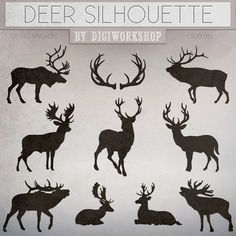 "Deers clipart ""Silhouettes of Deer"" clip art contains dark and light silhouettes of deers, christmas deer"