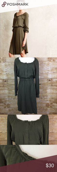 """Holding Horses Anthropologie green dress Army green. Elastic waist. Hidden placket button bodice. Raw edge trim. Button cuffs. Bust 36"""" shoulder to hem 37.25""""   Non smoking home Holding Horses Dresses Midi"""