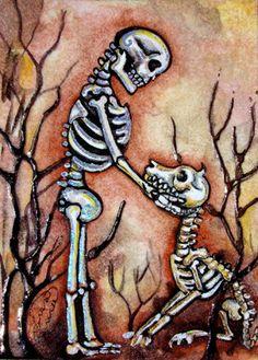Lisa Luree Original Dia de Los Muertos Good Dog Skeleton Day of The Dead ACEO | eBay