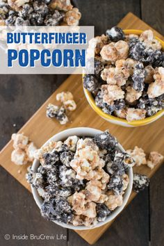This Butterfinger Cookies and Cream Popcorn has it all—crunchy popcorn coated in gooey marshmallows, melted white chocolate, and cookie crumbs mixed with the crispety, crunchety, peanut-buttery goodness that can only be found in a BUTTERFINGER® candy bar. This treat is sure to be a hit with your family at a Halloween party or while watching a scary movie!
