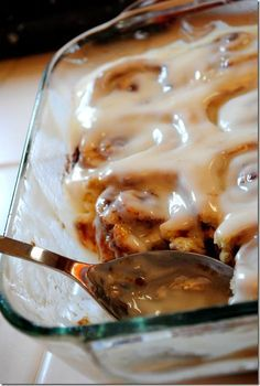 No-yeast Cinnamon Rolls from scratch! Perfect because I never have yeast, and never feel like running out to get it for one recipe. ::from Iowa Girl Eats  (I converted these to pumpkin cinnamon rolls with caramel icing: use 1/2c buttermilk and 1/2c pureed pumpkin; for icing I already had caramel cream cheese dip made, just added the buttermilk.)