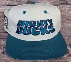 f3ab7d66617 Anaheim Mighty Ducks Vintage Snapback Sports Specialties Script Hat NHL  Rare Cap