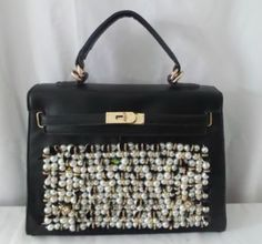 Agrarian Black Fabric Pearls Details Cross Body/Handbag