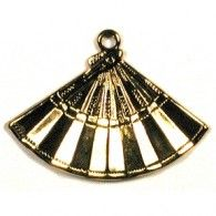 Fan Gold Golden Asian Japanese Chinese Findings Charm - Charms & Embellishments | Hanko Designs