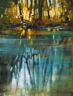 Creek Reflection Study by Linda Wilder Acrylic ~ 12 x 9 Abstract Landscape, Landscape Paintings, Abstract Art, Scenery Paintings, Sunset Landscape, Oil Painting On Canvas, Painting Frames, Acrylic Art, Your Paintings