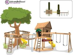 We have 1 half of this...maybe change location and use tree? #outdoorplayhouseideas #backyardplayhouse #playhousebuildingplans
