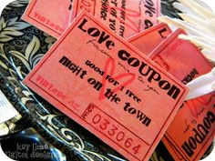 "Love Coupons!: ""Good for 1 Free Kiss"". ""Good for 1 Free Movie Night"". ""Night in Town"". ""...."". etc., free printable. _Guest Project"