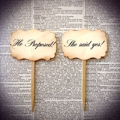Wedding cupcake topper, He proposed, she said yes on Etsy, $8.00