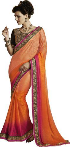 #Fashion #Sari #Jacquard #Saree #Orange