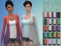 20 new colors for the sweater shorts outfit. Found in the fullbody clothing tab.  Found in TSR Category 'Sims 4 Female Everyday'