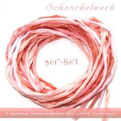 """5er-Set Seidenbänder Mix """"Pink Flamingo""""  von Schnörkelwerk auf DaWanda.com"""