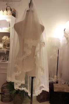 THIS IS THE ONE WE CHOSE KIMBER Soft Cream Color illusion Tulle Veil  Alencon by KissDesignHouse, $45.00