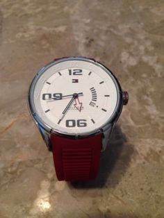 TOMMY HILFIGER Red Rubber Strap Wrist Watch 1790804 Mens