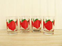 Vintage Anchor Hocking Apple Juice Glasses Apple Glasses Anchor Hocking Glasses Red Glasses 1960's Juice Glasses by HipCatRetroVintage on Etsy