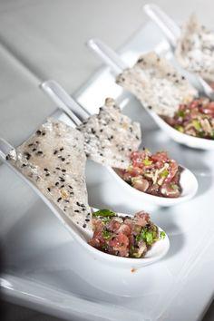Tuna tartar with cilantro and black sesame cracker