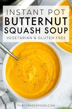 This Instant Pot Butternut Squash Soup Recipe is super easy to make right in your pressure cooker. Made with simple, healthy ingredients like onions, carrots, butternut squash, fresh ginger, and garlic, the whole family will love this smooth and comforting fall soup recipe. Vegan and gluten-free. Vegan Butternut Squash Soup, Instant Pot Pasta Recipe, Med Diet, Fall Soup Recipes, Potato Vegetable, Fresh Ginger, Onions, Super Easy, Cooker