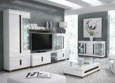 Lorenz High Gloss White Wide Sideboard Glass Door With LED Lights Lounge Furnit for sale online Garden Furniture Sale, Lounge Furniture, Online Furniture, Living Room Tv Unit Designs, Interior Design Living Room, Low Tv Stand, Tv Stand Unit, Sitting Room Decor, White Lounge