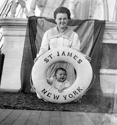 Agnes Tapley and Baby Della on the deck of a sailing ship in 1898.