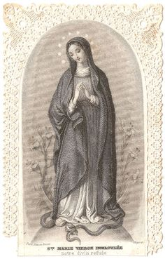 Antique Vintage French Paper Lace Holy Prayer Card Engraving of The Virgin Mary | eBay