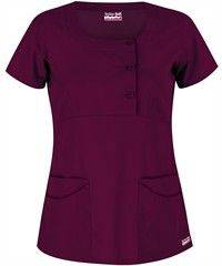 Butter-Soft Twill STRETCH Scrubs Rounded Square Neck Top - $18