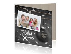 Kerstkaart foto krijtbord kerstbal X-mas
