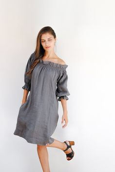online retailer 8ff3d 94c15 Linen off shoulder dress loose linen tunic dress plus size Abiti Di Lino,  Tessuto Di