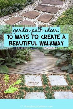 Garden paths and walkways are the backbone of your yard landscaping. Find some beautiful and whimsical DIY garden path ideas and learn which ones are easy to do and which ones are inexpensive. #fromhousetohome #gardenpaths #pathsandwalkways #walkways #diyprojects #gardendesign