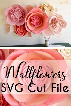 Make your own incredible, large flowers! They look beautiful hung on the wall. Perfect for the nursery, kids' room or your craft room! Also makes for beautiful wedding or shower party decor or photo backdrop! #ad #flowers #3dart #wallart #walldecor #svg #cricut #decorations