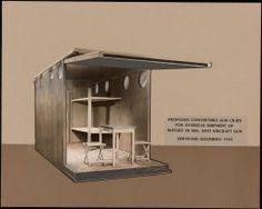 Bertrand Goldberg, Convertible Gun crate, perspective, 1943 © The Art Institute of Chicago, gift of Bertrand Goldberg children Micro House, Perspective Drawing, Art Institute Of Chicago, Little Houses, Crates, Convertible, Architecture Design, Guns, American