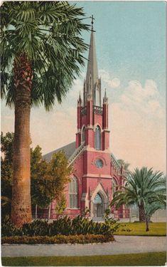 Vintage city postcard Catholic church Newport vintage postcard