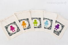 Love these robot favour bags on NickWillJack's etsy shop - adorable!