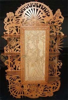 Art nouveau cabinet scroll saw fretwork pattern