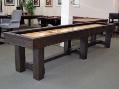 The Breckenridge Shuffleboard Table by Olhausen Billiards combines turn of the Century Arts & Crafts design elements with clean modern lines to create a contemporary showpiece. The hand crafted… Basement Layout, Basement Ideas, Walkout Basement, Basement Games, Basement Makeover, Basement Plans, Shuffleboard Table, Man Cave Home Bar, Basement Renovations