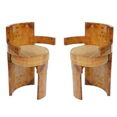 Pair of French Modernist Chairs in Sycamore Burl | From a unique collection of antique and modern armchairs at http://www.1stdibs.com/furniture/seating/armchairs/