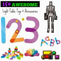 If you're looking for new ideas for light table toys and accessories, check out Rainey Day Play's 150 Awesome Light Table Toys & Accessories! There are lots of fun and inexpensive ideas here!
