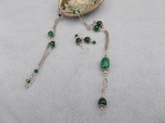 Green stripe agate necklace with long chain-Sold