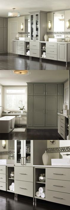 Go beyond a casual look with Toulan style Decora bathroom cabinets in a gray finish. Storage options and decorative doors will upgrade your look without distracting from your design.