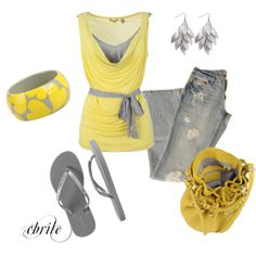 Yellow and Grey Minus The Heart Bracelet-I'm a Bit Old For Hearts :)