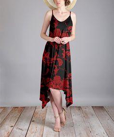 Black & Red Floral Sidetail Dress - Plus Too
