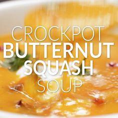 Healthy Snacks for Kids : Crockpot Butternut Squash Soup Healthy Soup Recipes, Healthy Snacks For Kids, Cooking Recipes, Alkaline Recipes, Chili Recipes, Healthy Tips, Crockpot Recipes, Coconut Bacon, Coconut Cream