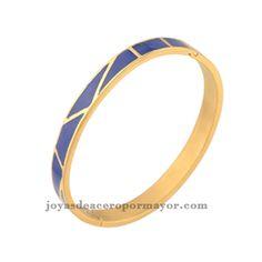 pulsera azul esmalte de acero dorada para mujeres