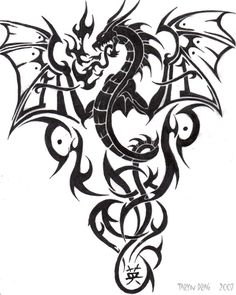 Like the wings, flames and tribal art, not sure about the dragon itself - Tattoo Life Dragon Tattoo Patterns, Tribal Dragon Tattoos, Chinese Dragon Tattoos, Dragon Tattoo Designs, Tribal Tattoo Designs, Celtic Tattoos, Design Tattoos, Maori Tattoos, Yakuza Tattoo