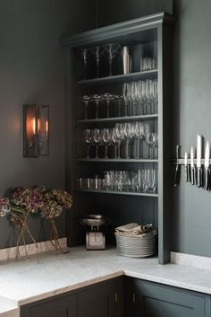 If you have beautiful glassware then put it on display - open shelving can be so stylish in a kitchen